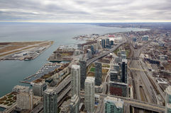 Toronto Harbour Aerial View West Royalty Free Stock Images