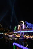 Toronto Harbourfront. A shot of the harbourfront in Toronto, Canada with the Pulse Front in the background illuminating the sky during the Luminato art event Stock Photo