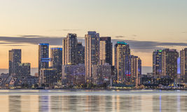 Toronto Harbourfront district at sunset. View of  Toronto Harbourfront district with   the adjacent high-rise condo buildings - illuminated during sunset Stock Images