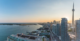 Toronto Harbourfront. Panoramic view of Toronto Harbourfront on sunset. Toronto, Ontario, Canada Royalty Free Stock Image