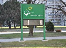 Toronto Hydro sign stock photo