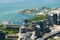 Toronto i Ontario jezioro, widok z lotu ptaka Obrazy Stock
