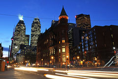 Toronto Intersection. Toronto, Canada: Intersection of Wellington St., Front St., and Church St. at night with the iconic Flatiron Building stock image