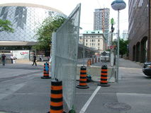 TORONTO - JUNE 23, 2010 - The police barricades around the Metro Convention Center during the G20 protests in Toronto, Ontario, Ca royalty free stock photos