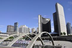 Toronto, 24 Juni: Nieuw Stadhuis van Nathan Phillips Square van Toronto in de Provincie Canada van Ontario Royalty-vrije Stock Afbeeldingen