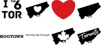 Toronto Kanada översiktsvektor med lönnlövsymbolet royaltyfri illustrationer