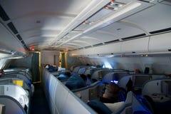 TORONTO KANADA - JANUARI 21st, 2017: Platser för Air Canada affärsgrupp inom en Air Canada flygbuss A330 på min väg från Munich Arkivbild