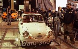 Toronto, Kanada - 2018-02-19: Subaru 360 pierwszy Subaru masowy samochód wprowadzać na rynek w 1958, wystawia na Subaru Zdjęcie Stock