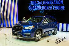 Toronto Kanada - 2018-02-19: Subaru stigningbegrepp som 2019 visas på den Subaru Korporation utläggningen på kanadensaren 2018 royaltyfri fotografi