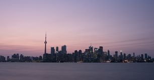 Toronto Kanada zmierzchu pejzażu miejskiego panorama fotografia stock