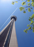 Toronto Looking up toward the top of the CN Tower  Royalty Free Stock Image