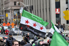 Verzameling aan teken 2 jaar van Syrische revolutie in Toronto Royalty-vrije Stock Foto