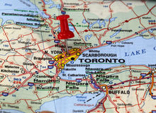 Toronto. Map with pin point of toronto in canada stock images