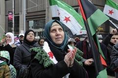 标记2年的集会叙利亚革命在多伦多 免版税图库摄影