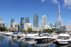 Toronto marina and luxury condominiums Royalty Free Stock Photo