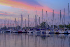 Toronto marina with many boats at sunset Royalty Free Stock Photography
