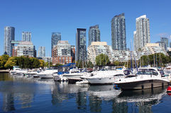 Toronto marina and residential buildings Royalty Free Stock Photography