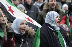 Rassemblement pour marquer 2 ans de révolution syrienne à Toro Images libres de droits