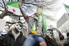 Rassemblement pour marquer 2 ans de révolution syrienne à Toronto Image stock