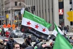 Rassemblement pour marquer 2 ans de révolution syrienne à Toronto Photo libre de droits
