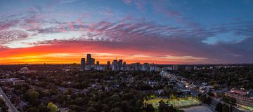 Toronto midtown panorama at sunset royalty free stock images