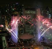 Toronto New Years Eve Fireworks 2012. New Years Eve Toronto City Hall Fireworks 2012 Stock Photography
