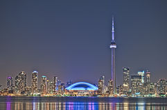 Toronto night skyline CN Tower downtown Stock Photos