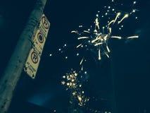 Toronto NYE Fireworks. Downtown Toronto New Years Eve 2015 Stock Photo