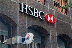 Toronto, Ontário/Canadá - 20 de julho de 2018: Hong Kong e banco de Shanghai da matriz do comércio no logotipo do sinal de Toront imagens de stock