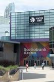 Toronto, Ontario/Canadá - 20 de julio de 2018: Estación céntrica de la unión de Toronto de la señalización de la arena de Scotiab imagen de archivo libre de regalías