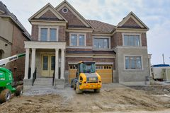 TORONTO, ONTARIO, CANADA - APRIL 7TH 2019 - New home construction in Canada`s largest city. Real estate development in northern pa stock photo