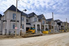 TORONTO, ONTARIO, CANADA - APRIL 7TH 2019 - New home construction in Canada`s largest city. Real estate development in northern pa royalty free stock photos