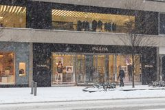 Prada Snow Storm Canada Toronto Feb 12 2019 stock photography