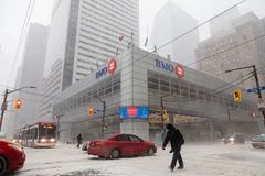 BMO Bank of Montreal Snow Storm Canada Toronto Feb 12 2019-4 royalty free stock images