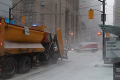 Snow Plow Canada Post Truck Snow Storm Canada Toronto Feb 12 2019 stock photo