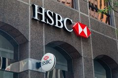 Toronto, Ontario/Canada - 20 juillet 2018 : Hong Kong et banque de Changhaï du siège social de commerce dans le logo de signe de  images stock