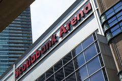 Toronto, Ontario/Canada - July 20 2018: Scotiabank Arena Signage downtown Toronto Union Station Signpost royalty free stock photos
