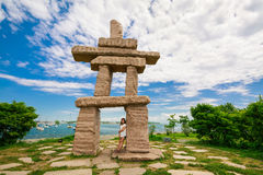 Toronto, Ontario, Canada, June 16, 2017 gorgeous amazing, inviting view of Toronto down town area outdoor park with natural landsc. Ape view and stunning inuksuk Royalty Free Stock Photo