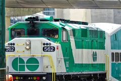 Toronto, Ontario, Canada-June 26, 2018: Toronto Go Train arrivin. G at Union station in downtown Royalty Free Stock Photography