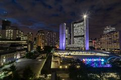 Toronto Ontario Canada at night with old courthouse clock tower stock photography