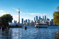 Toronto, Ontario, Canada, View of Skyline and Ferry Boat Arriving at Centre Island