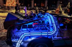 Beautiful closeup fragment of rear detailed view of back to the future car model at night, lit by various lights. Toronto, Ontario, Dec. 29, 2017, Casa Loma Stock Image