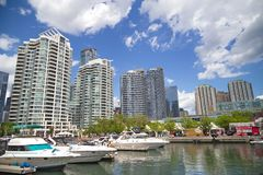 Toronto, Ontario. Toronto Harborfront July 3, 2016: Busy Toronto harborfront area. The Harbourfront is a neighbourhood on the northern shore of Lake Ontario Royalty Free Stock Image