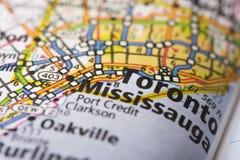 Toronto, Ontario on map. Closeup of Toronto, Ontario on a road map of Canada stock photos