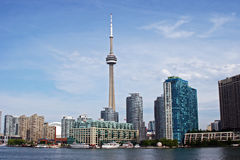 Toronto, Ontario Skyline. Towering above the ground, the CN Tower in Toronto, ON, dominates the city's skyline Royalty Free Stock Photography