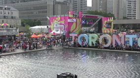 Toronto panamerican games 2015. Toronto, Canada - July 21, 2015: crowds gather in Toronto Canada to celebrate daily events in the Panamerican Games on July 21