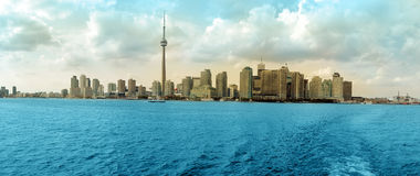 Toronto panorama. Toronto Cityscape colored panorama, Ontario Lake. Canada Stock Photography