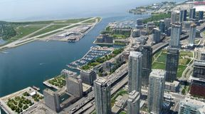 Toronto panorama. Aerial view of Downtown Area of Toronto, Canada with airport on the left stock photography