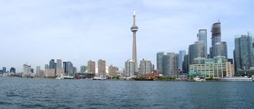 Toronto panorama. Wide-angle view of Downtown Area of Toronto, Canada from the Lake Ontario stock photography
