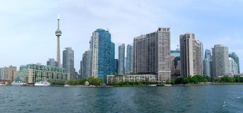 Toronto panorama. Wide-angle view of Downtown Area of Toronto, Canada from the Lake Ontario stock photo